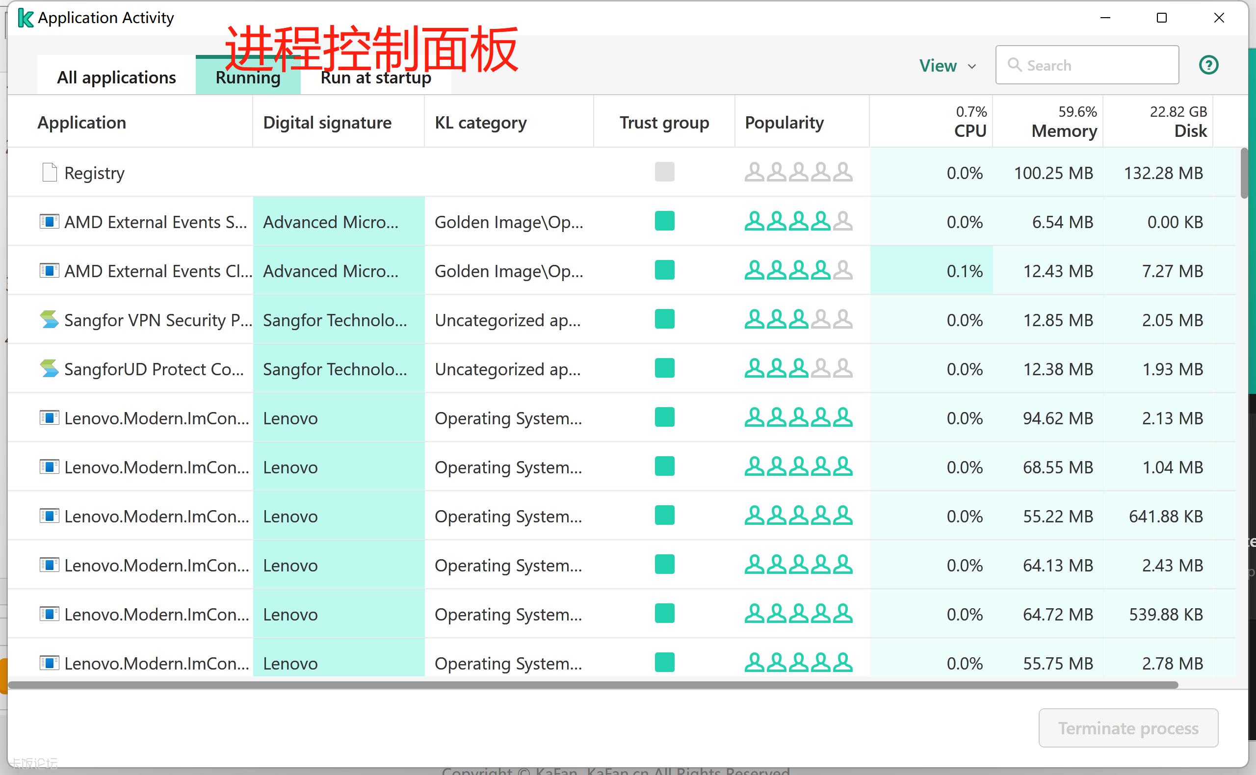 Application Activity Monitor 界面